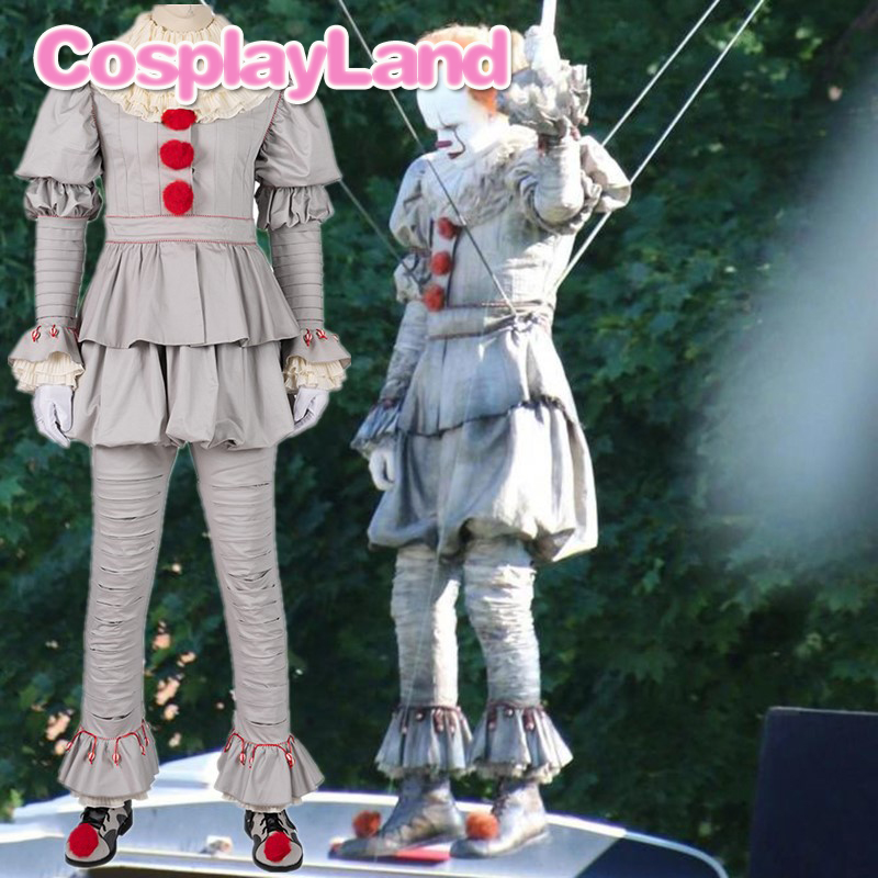 Stephen Kings It 2 Cosplay Costume IT Dancing Clown Pennywise  Full Suit Halloween Party Terror Movie Cosplay Outfit BootsMovie