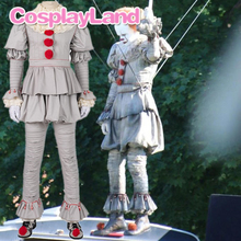 Stephen Kings It 2 Cosplay Costume IT Dancing Clown Pennywise Full Suit Halloween Party Terror Movie Cosplay Outfit Boots
