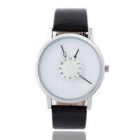 Новый стиль студенческие часы Креативный обратный поворот небольшой циферблат женские кварцевые часы простые черные и белые мужские и жен...