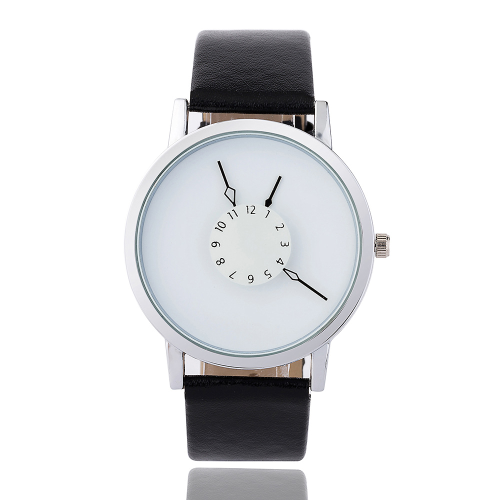 New Style Students Watch Creative Reverse Turn A Small Dial WOMEN'S Quartz Watch Simple Black And White Men And Women Watch Whol