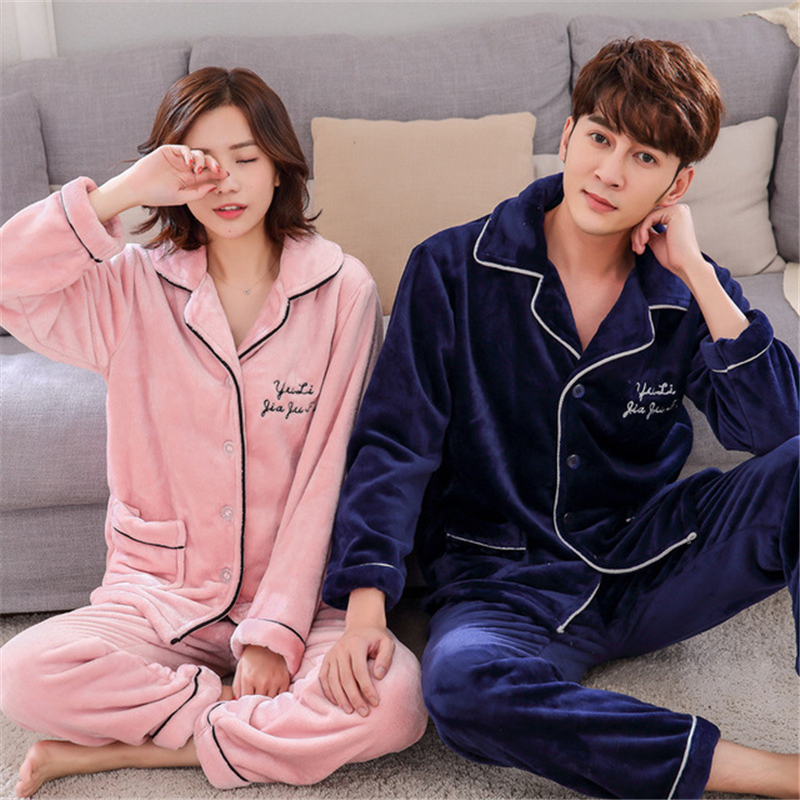 Pajamas Men Couple Flannel Suit Autumn Winter Thick Korean Casual Navy Blue Home Service Two-piece Suit Kamerjas Heren Sexy