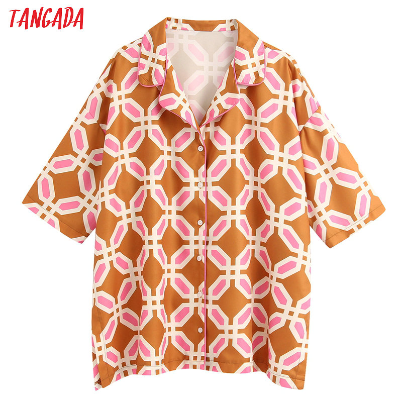 Tangada Women Oversized Print Chiffon Blouse Summer Short Sleeve Chic Female Casual Loose Blusas Tops BE363