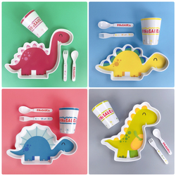 4Pcs Baby Tableware Learning Dishes Training Plate Kids Feeding Bowl Cup Fork Spoon Food Safe Children Feeding Tableware Set