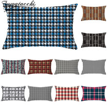 Fuwatacchi Geometric Rectangle Cushion Cover Plaid Polyester Pillows Home Decoration Coussin Decoratif Covers 30*50cm