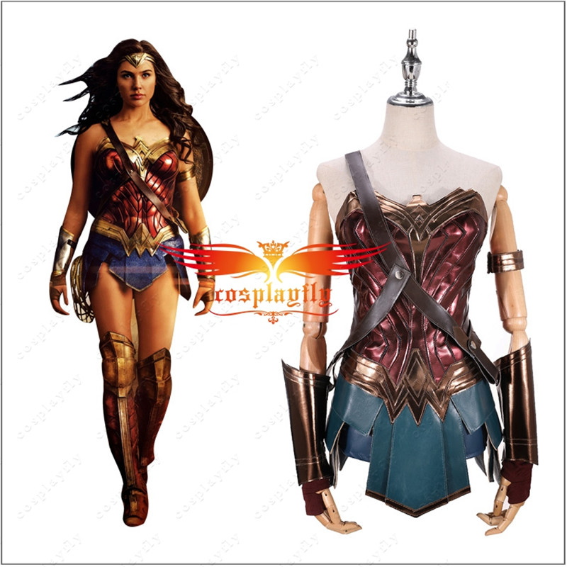 BatmanvSuperman:Dawn Of Justice Wonder Woman Diana Costume Golden Rope(free Fee) Adult Cosplay Corset Dress+Women Wig (In Stock)