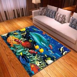 Nowoczesny podwodny świat dywan do salonu mata do zabawy dla dzieci nocny dywanik flanelowy salon duży delfin ryby drukowane 3D dywan do składania