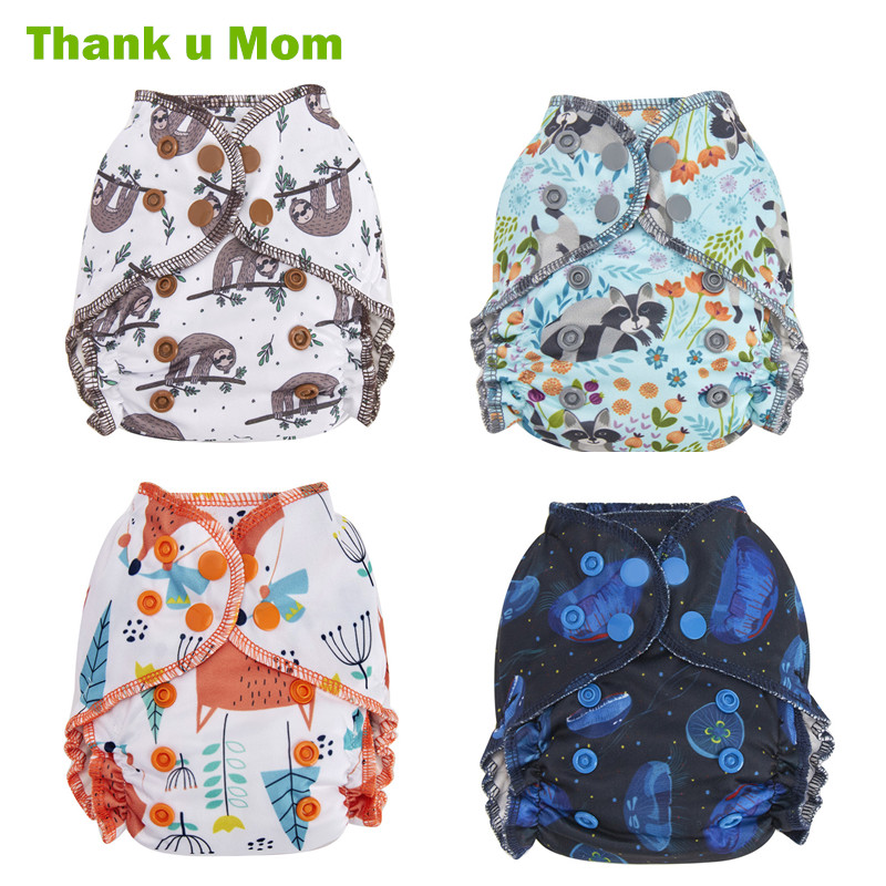 Thank U Mom Newborn All In One Cloth Diaper Fits 2-5kg Baby Washable Diapers NB Tiny Reusable Nappies Organic Bamboo Cotton
