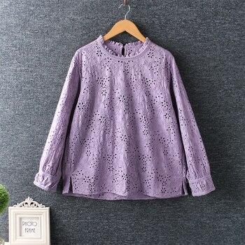 Lamtrip Unique Surface 3D Embroidery O-Neck Cotton Shirt Blouse 1
