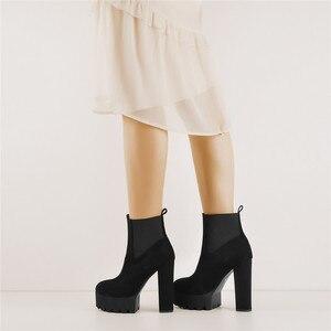 Image 3 - Sómaker Mulheres Dedo Do Pé Redondo botas Plataforma tornozelo Grosso de Salto Alto Plus Size Senhoras Negras Botas