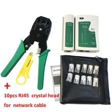 Descascamento de friso alicate cabo de rede braçadeira alicate + profissional cabo de rede testador rj45 rj11 rj12 cat5 utp lan cabo tester