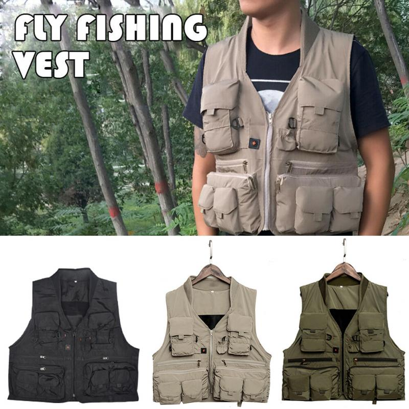 Adult Quick-drying Multi-function Multi-pocket Camping Hiking Outdoor Sports Fishing Vest Sailing Safety Boating Vest Survival
