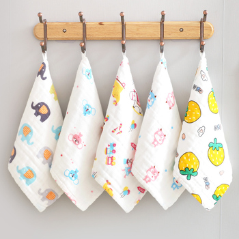 5pcs/lot Baby Face Towel Newborn Feeding Cotton Towel  Dinosaur Printed Children Small Handkerchief Gauze Nursing Towel 25*25cm six layers of gauze cotton square towel children towel fold a handkerchief plain printed saliva towel