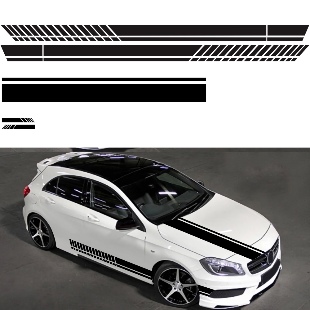 5PCS Car Sticker Drawing Waistline Sticker D-936 Car Body Racing Side Door Long Stripe Stickers Auto Vinyl Decal Black White