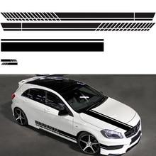 5pcs Car Sticker Drawing Waistline D-936 Body Racing Side Door Long Stripe Stickers Auto Vinyl Decal Black/White