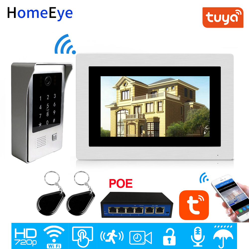 WiFi IP Video Door Phone Video Intercom Touch Screen App Remote Unlock Code Keypad IC Card Access Control System POE Supported