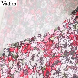 Image 4 - Vadim 女性ファッション花柄ミニドレスノースリーブ弾性ウエスト a ラインの女性のカジュアルフリルドレス vestidos mujer QD163