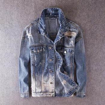 Fashion Streetwear Men Jacket Blue Color Retro Wash Vintage Destroyed Denim Coats Ripped Jackets Hip Hop Biker Jacket Hombre bleach wash extreme destroyed denim jacket