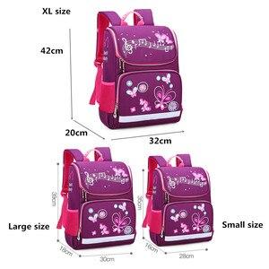 Image 2 - İlköğretim okul çantaları ortopedik sırt çantası kız erkek su geçirmez sırt çantası sevimli baskı yürümeye başlayan sırt çantası mor Mochila Escolar
