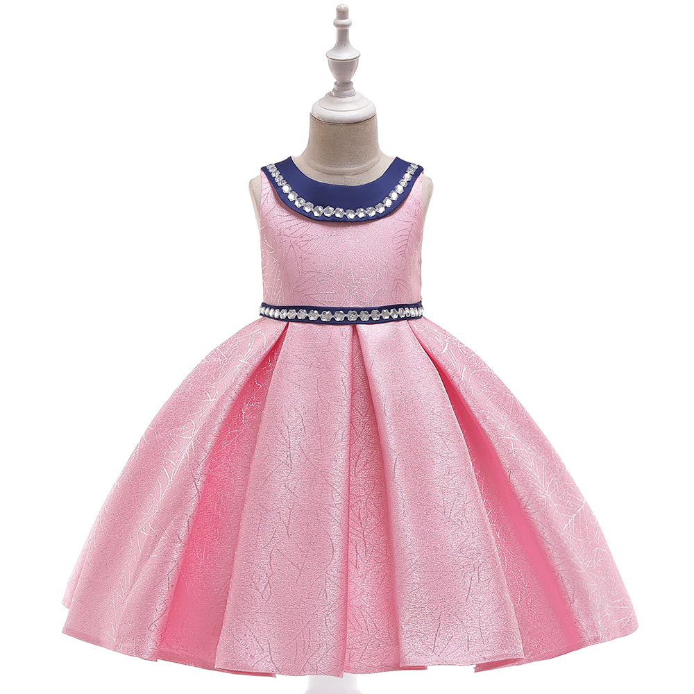 2019 Europe And America CHILDREN'S Dress Satin Jacquard Princess Peter Pan Collar Girls Catwalks Puffy Party Performance Formal