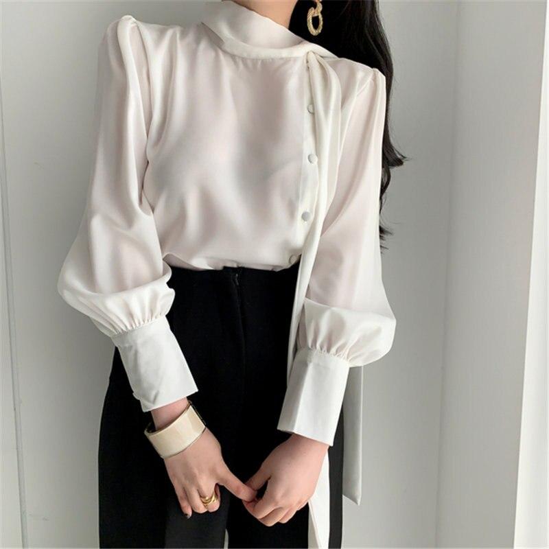 HziriP Korean Chic Solid Vintage Minimalist Gentle Lantern Sleeves 2020 All Match Sweet Elegance Office Lady Fresh OL Shirts
