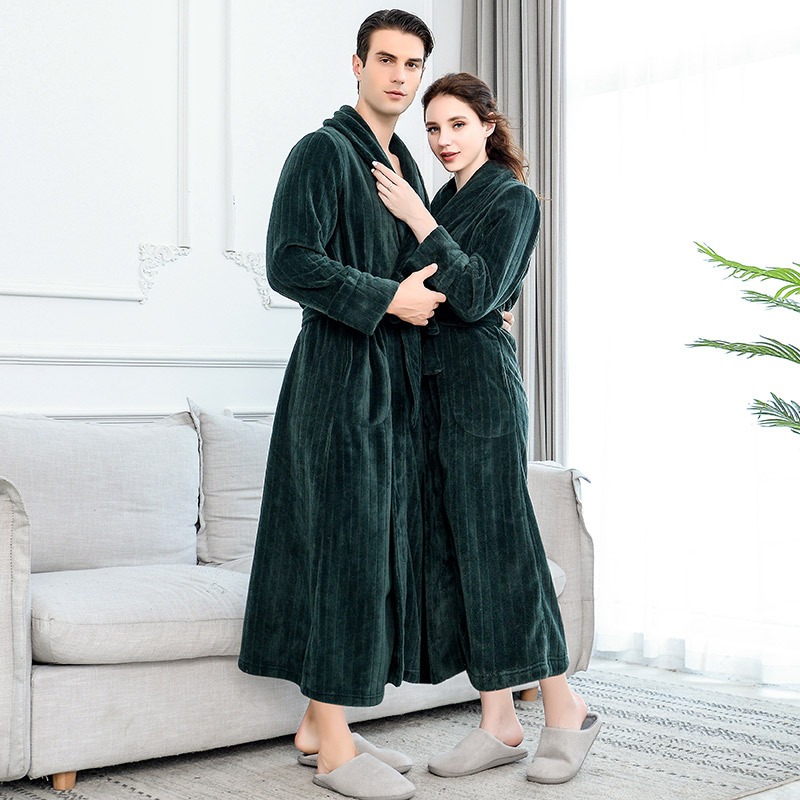 Lovers Extra Long Plus Size Winter Warm Flannel Coral Fleece Bath Robe Men Women Knitted Waffle Kimono Bathrobe Dressing Gown