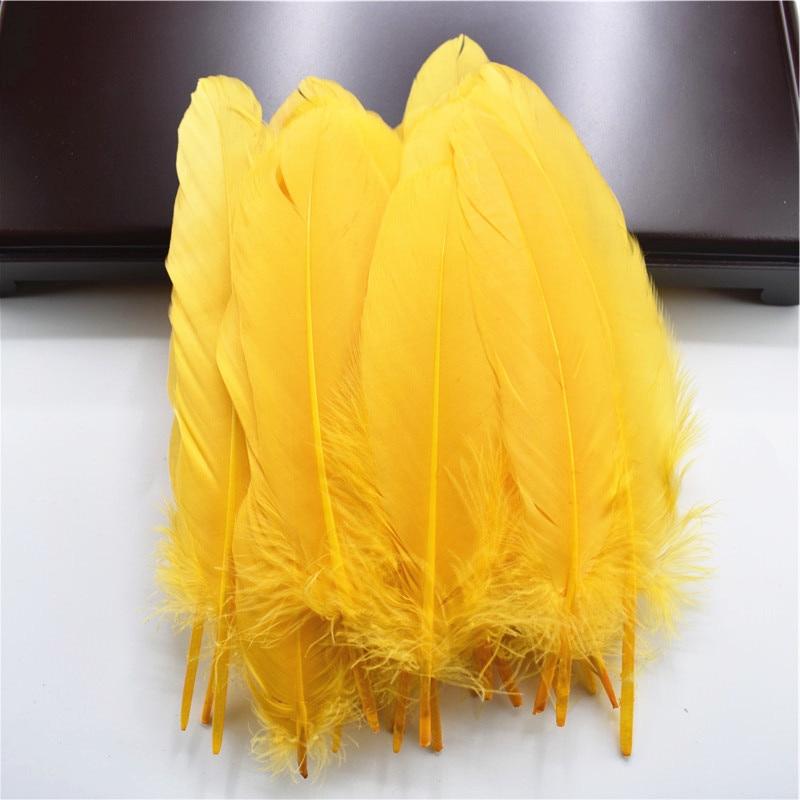 Жесткий полюс, натуральные гусиные перья для рукоделия, 5-7 дюймов/13-18 см, самодельные ювелирные изделия, перо, свадебное украшение для дома - Цвет: Gold
