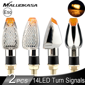 12V Motorcycle LED Turn Signal Lightings With E50 Mark 14LED Blinkers Amber light Plated Silver Shell Motorcycle Indicator Light