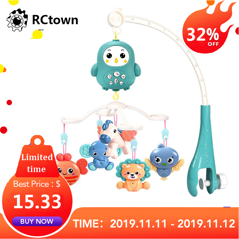RCtown Baby Remote Control Crib Mobiles Rattles Music Educational Toys Bed Bell Toy For Newborns