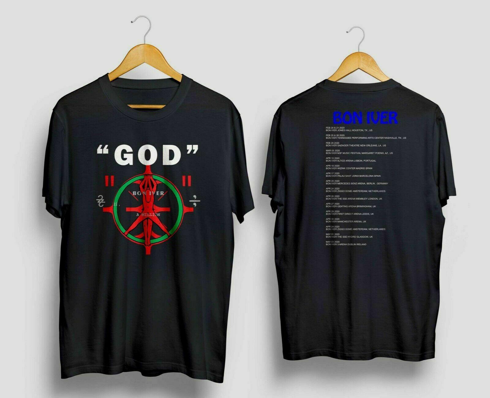 Bon Iver God World Tour 2020 With Dates T Shirt Black Size S 5Xl