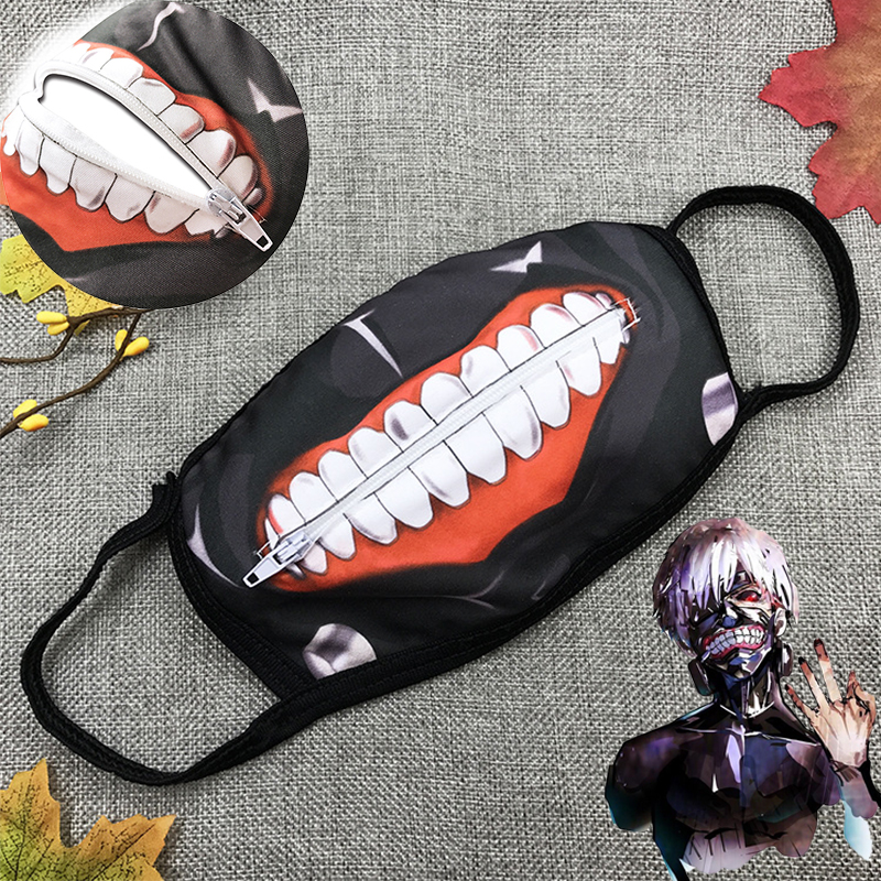 Tokyo Ghoul Kaneki Ken Mask Face Masks Cosplay Anime Dustproof Zipper Masks Props