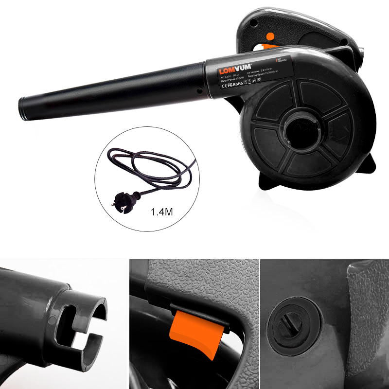 Tools : LOMVUM Air Blower 1000W Electric Air Blower Computer Cleaning Blower Dust Vacuum Cleaner Home Car Cleaner Mini Carbon Brush 220V