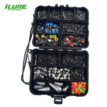 Fishing accessories 1box (167pcs)  Swivels&Snap swivels Fishing Connector Pin Crank hook Space Bean Lead Sinker Luminous Bead цена 2017
