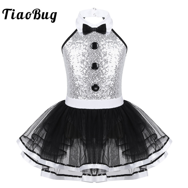 TiaoBug Kids Sleeveless Shiny Sequins Mesh Tutu Ballet Dress Girls Gymnastics Leotard Children Modern Performance Dance Costume