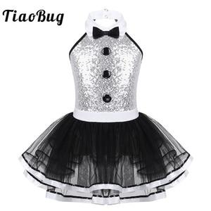Image 1 - TiaoBug Kids Sleeveless Shiny Sequins Mesh Tutu Ballet Dress Girls Gymnastics Leotard Children Modern Performance Dance Costume