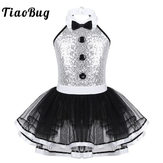 TiaoBug Kids Sleeveless Shiny Sequins Mesh Tutu Ballet Dress Girls Gymnastics Leotard Children Modern Performance Dance Costume