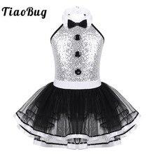 TiaoBug dzieci bez rękawów błyszczące cekiny Mesh Tutu balet sukienka dziewczyny gimnastyka trykot dzieci nowoczesny wydajność kostium taneczny