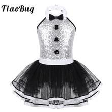 Детское Сетчатое балетное платье пачка с блестками TiaoBug, гимнастический купальник без рукавов для девочек, современный танцевальный костюм для представлений