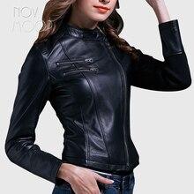Nero genuino giacche di pelle delle donne di pelle di pecora agnello slim moto biker giacca cappotti chaqueta mujer jaqueta de couro LT1603