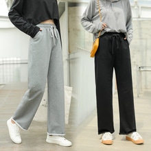 New Spring Autumn Trousers Casual Female Elastic Waist Wide Leg Long Pants Fashion Women Loose Straight Pants Pockets Grey Black jyss autumn new casual elastic waist pants women belt yellow gray plaid pants long straight trousers women active wear 81221