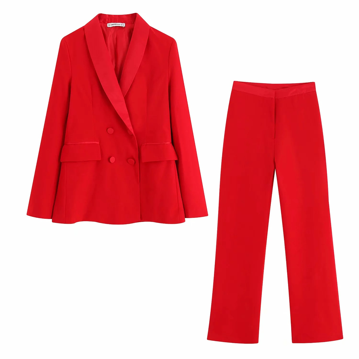 Autumn New Casual Woman Suit Fashion Double-breasted Red Blazer Pants Suit Female 2019 Elegant Office Suit Two-piece Suit