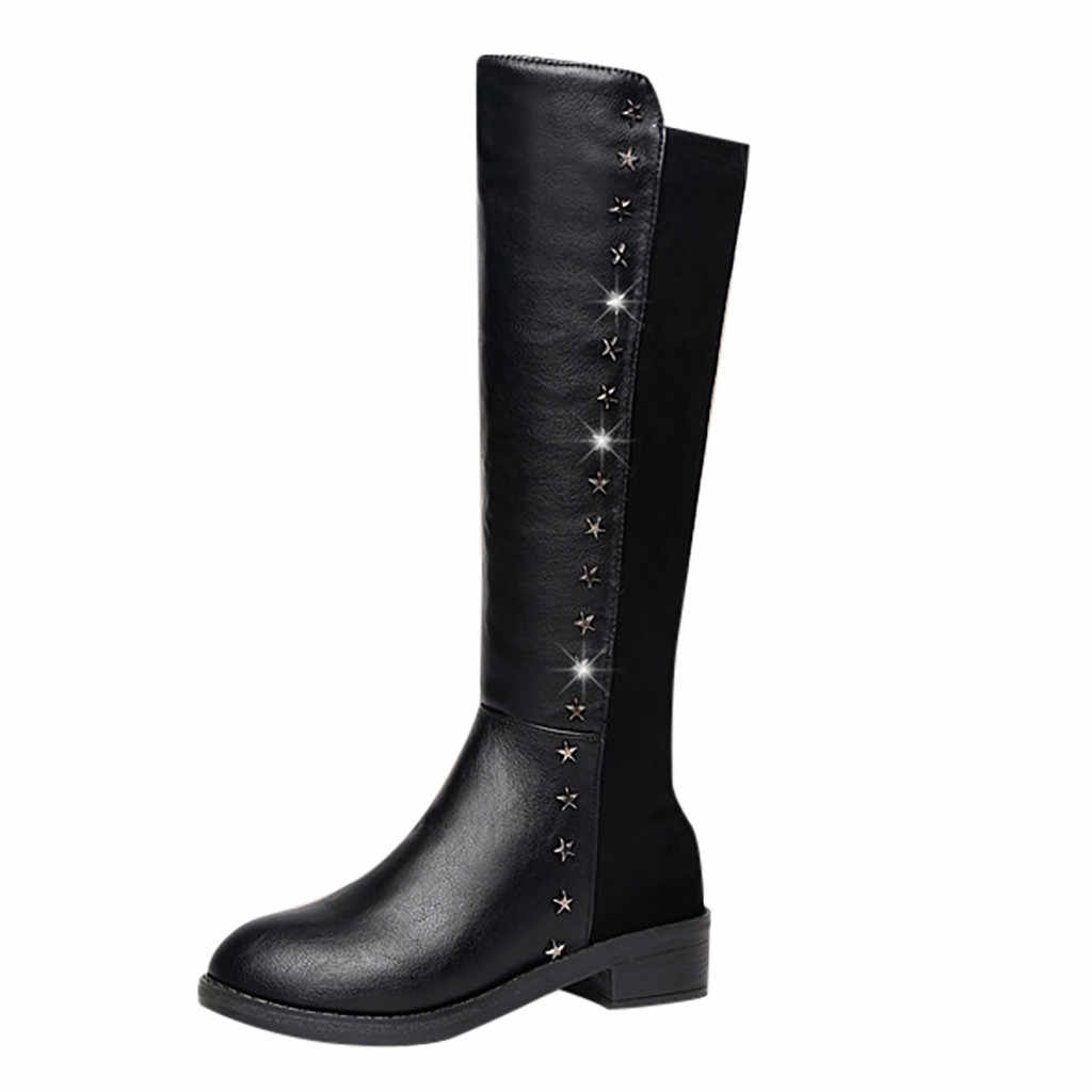 New Autumn Winter Mid-calf Women Boots Flats Heels Warm Plush Pu Leather Boots High Quality Knee High Boots Plus Size 35-40#3E