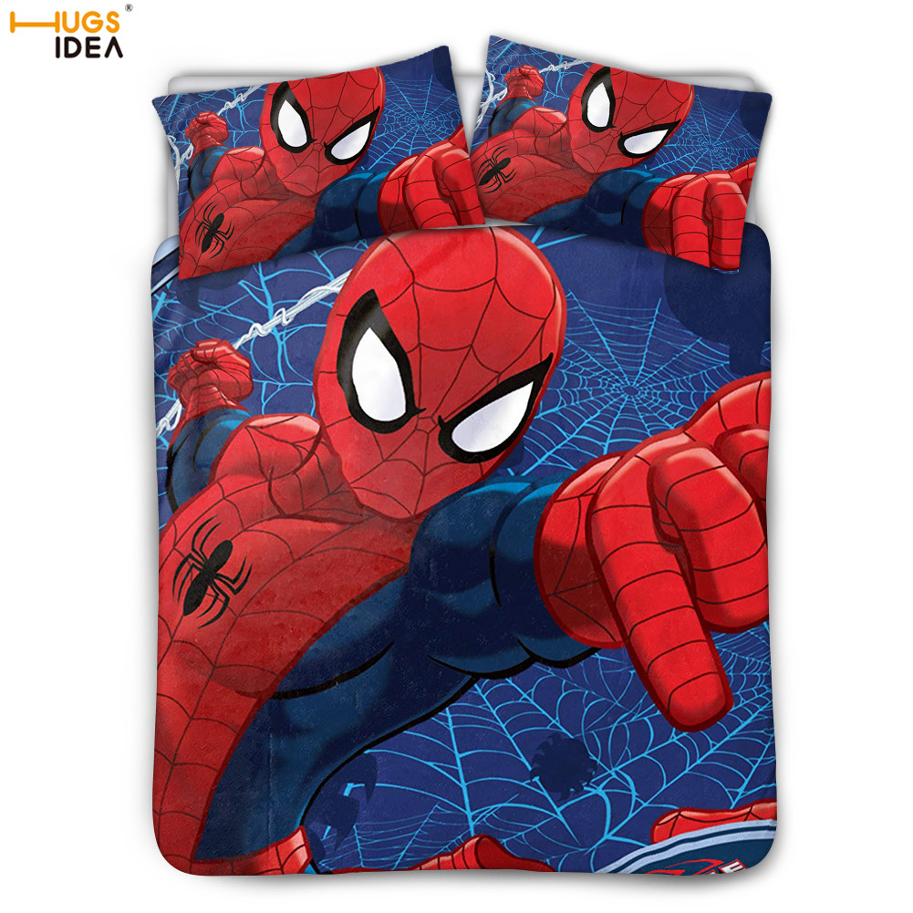 3Pcs Spider-Man Comfortable Bed Decor Sheet Webbed Wonder Bed Duvet Cover For Boys Kids Titan Hero Spiderman Bedding Pillowcase