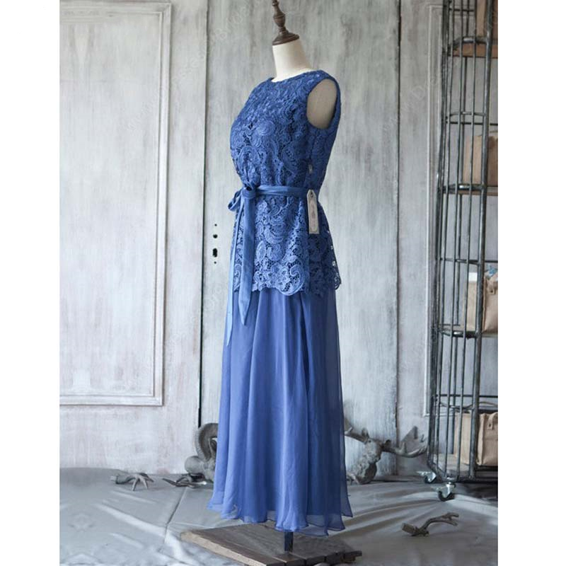 Real Image Navy Blue Mother of the Bride Dress with Sash Lace Chiffon Mother of the Groom Wedding Party Dresses Evening Gowns