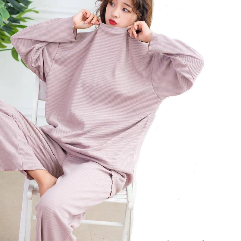 Autumn winter new cotton long-sleeved pajamas suits loose striped home suits two piece pants set pyjamas women pijamas sleepwear
