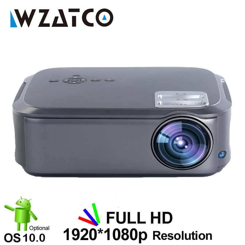 WZATCO CT58 Full HD 1920*1080P Suport AC3 4K Video Online Android 10 Wifi Smart Video LED proyektor Projector untuk Home Theater