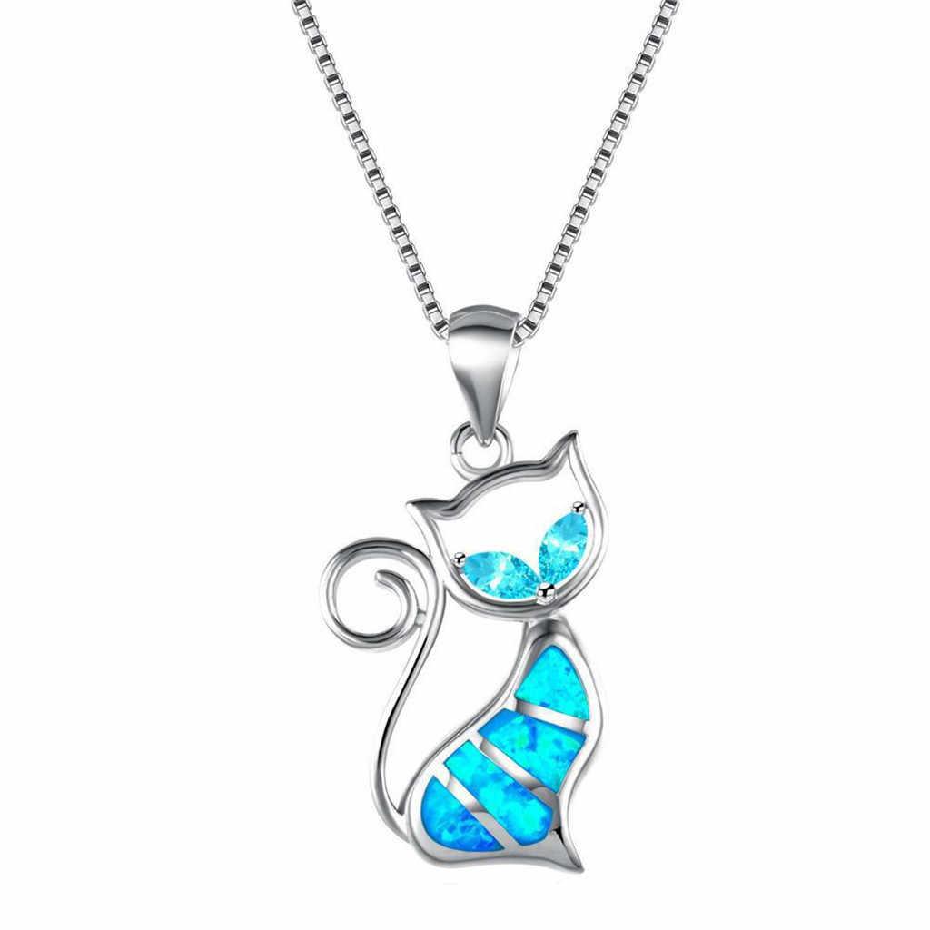 Mèo Mặt Dây Chuyền Bạc Cá Tính Charm Dại Gái Mặt Vòng Cổ Đầm Tuyên Bố Phụ Kiện Collana Di Moda Модное Ожерелье