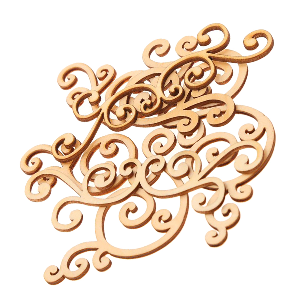 8pcs Wood Flourishes Craft Embellishment Scrapbooking DIY Card Home Wall Decor Decoupage Sign Making Supplies