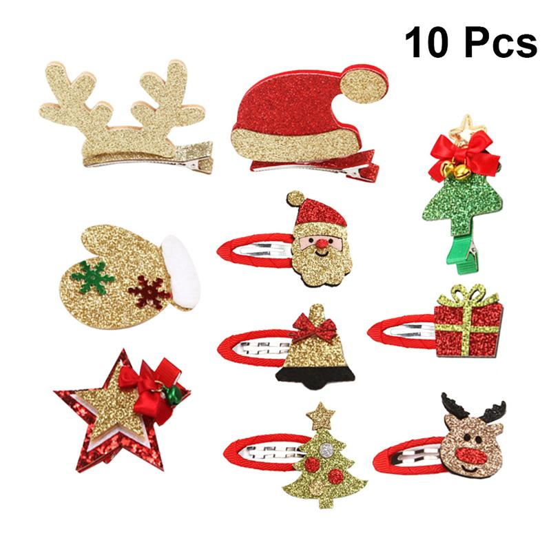 10pcs Christmas Hair Clips Barrettes Lovely Christmas Themed Hair Pins Hair Clips For Women Girls Kids Teens (Random Pattern)