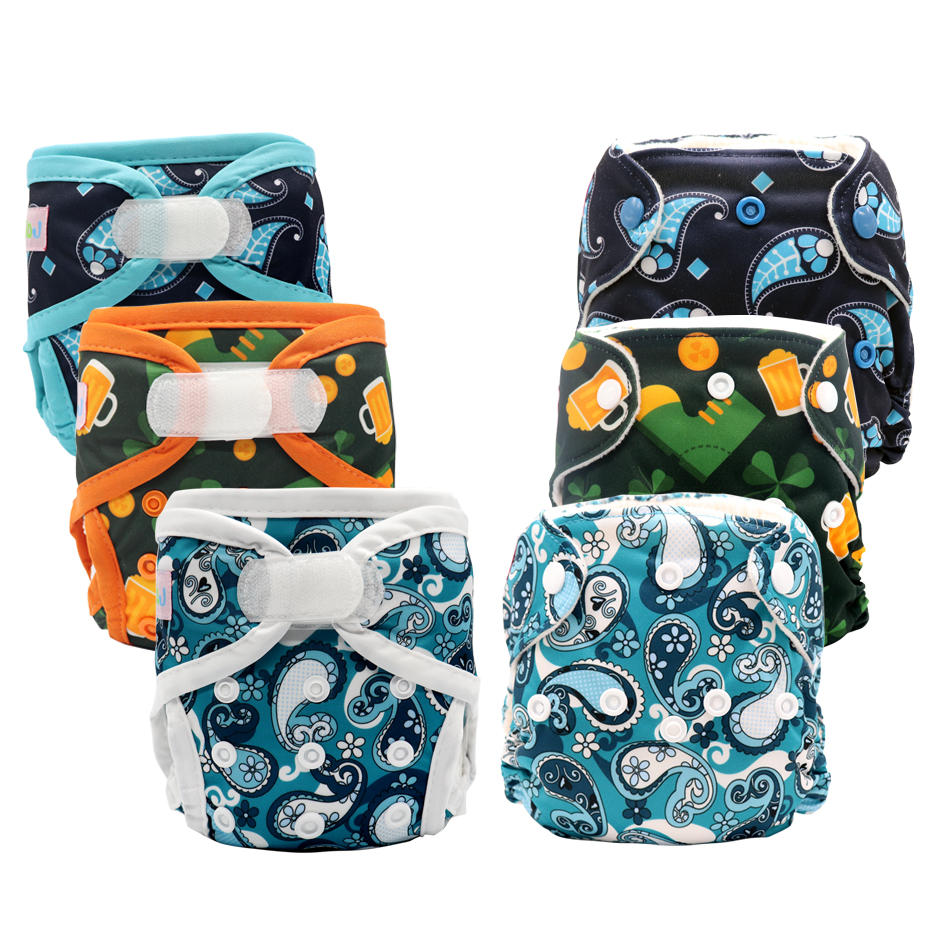 MABOJ Newborn AIO Cloth Baby Diaper Cover All In One Nappies Reusable Baby Infant Newborn AIO Nappy Stay Dry Fast For 0-3 Months