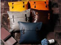 Pillowcase solid color sofa cushion cover Office pu leather hug pillowcase Simulation leather pillowcase